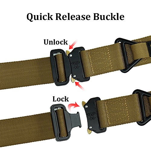 Review Fairwin Tactical Rigger's Belt, Military Style Webbing Riggers Nylon Web Belt with Heavy-Duty Quick-Release Metal Buckle and Triangular D-Ring. Brown, Waist 40″-46″ XL