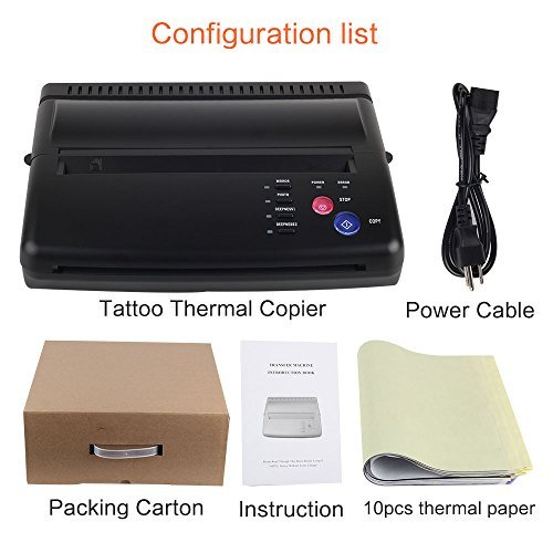 Black Tattoo Transfer Stencil Machine Thermal Copier Printer with 10 pcs transfer Papers by YILONG