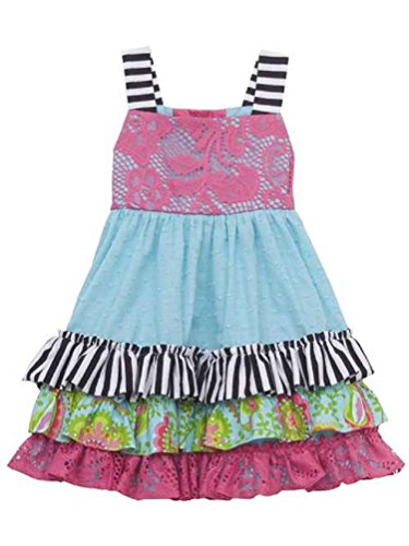 Rare Editions Counting Daisies Zebra Lace Clipdot Dress (2T)