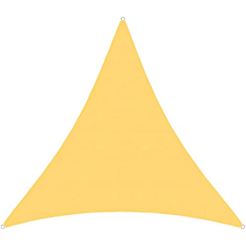 TANG Sunshades Depot 7 x7 x7 Equilateral Triangle Waterproof Terylene Knitted Shade Sail Curved Edge Yellow 220 GSM UV Block Shade Fabric Pergola Carport Awning Canopy Replacement Awning
