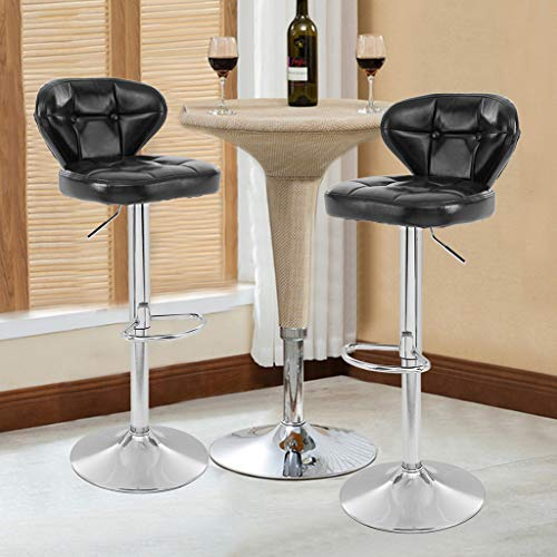 Chenway Cushion Stool Bar Set of 2 Lift Soft Chair Home High Bar Chair Swivel with Back 33-40inch Height
