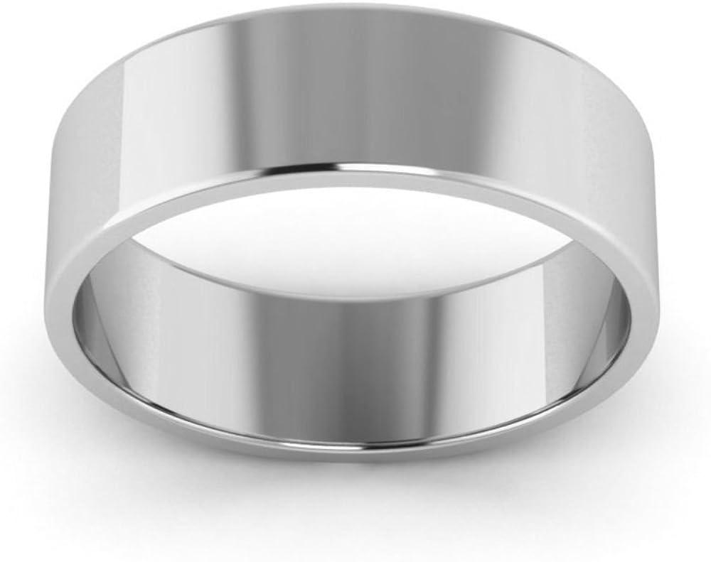 14K White Gold mens and womens plain wedding bands 6mm light flat