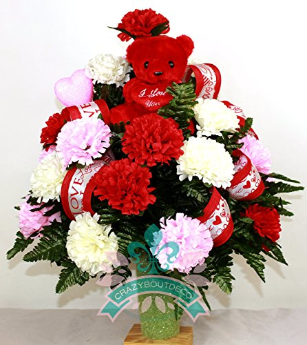 Beautiful XL Valentine's Red and Pink Carnations Cemetery Arrangement for 3 Inch Vase