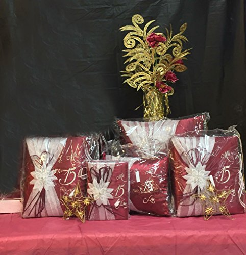 5 pc Burgundy and Silver Colour Quinceanera Set Mis Quince Set Pillows Guest Book Photo Album (Quinceanera Set)