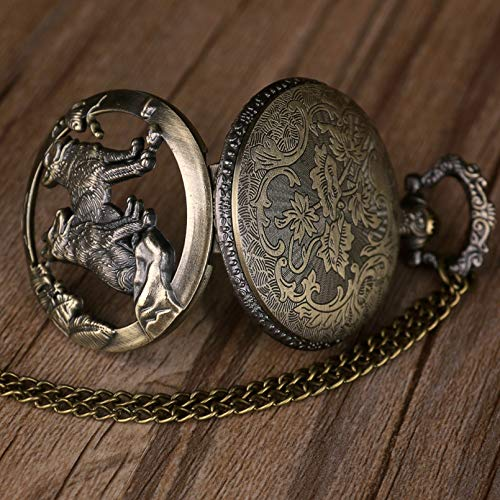 QWASZ fickur brons ihålig varg urtavla design kvarts fickur halskedja berlock kedja steampunk fickur