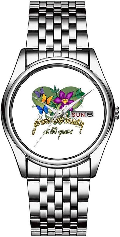 Reloj Hombre, 30 m, Resistente al Agua, Fecha, Reloj Deportivo para Hombre, Reloj de Pulsera de Cuarzo, Informal, Regalo, Belleza y ansiedad, 50 cumpleaños