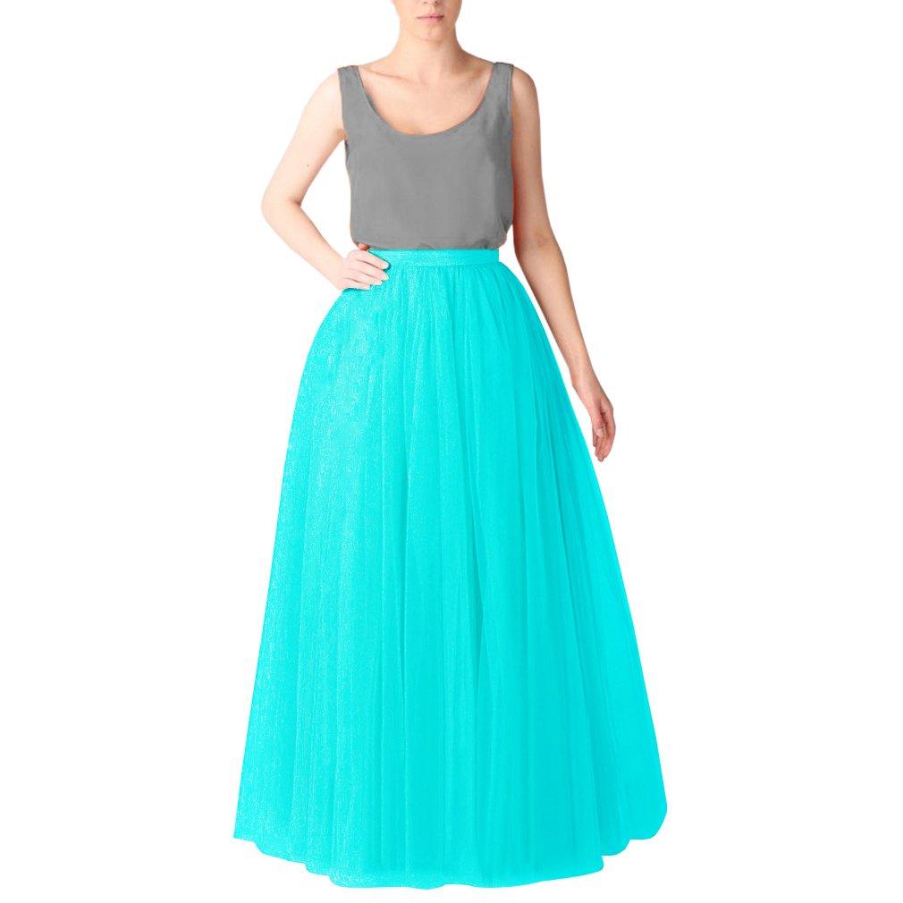 Ice bluee015 WDPL Women's Long Floor Length 5 Layer Bridal Tulle Skirt