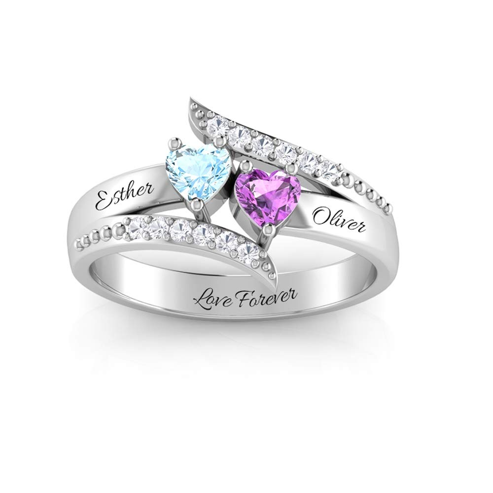Wendy Made Personalized Promise Rings for Her Custom Couples Name Ring for Women Mother Rings with 2 Simulated Birthstones (Silver, 6) by Wendy Made