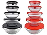 Imperial 10 Pcs Glass Nested Dipping or Storage Bowls with Black and Red Lids - 2 Pack
