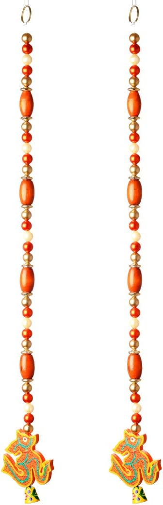 Set of 2 Om Hanging Wooden Beaded Decoration for Home Door Wall Temple Bedroom, Indian Traditional Decorative Accessories for Party, Indian Wedding Festivities and Gifting (Size :- 24