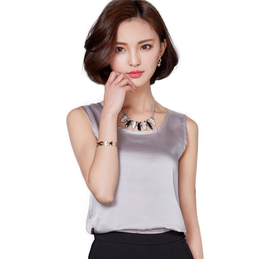 Manka Vesa Women's Summer Soft Silk-Feeling Sleeveles Vest Round Neck Wild T Shirt Silver Grey