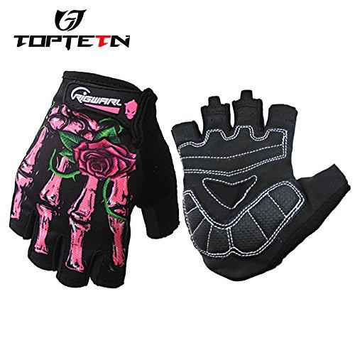 TOPTETN Half finger 1 pair of knight flower skeleton print hand gloves 3d ghost