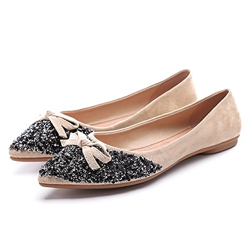 Pointed Rhinestone Comfort Dress Womens Toe Meeshine Bow Shoes on Beige Classic Flats Ballerina Slip Ballet qE8pY4