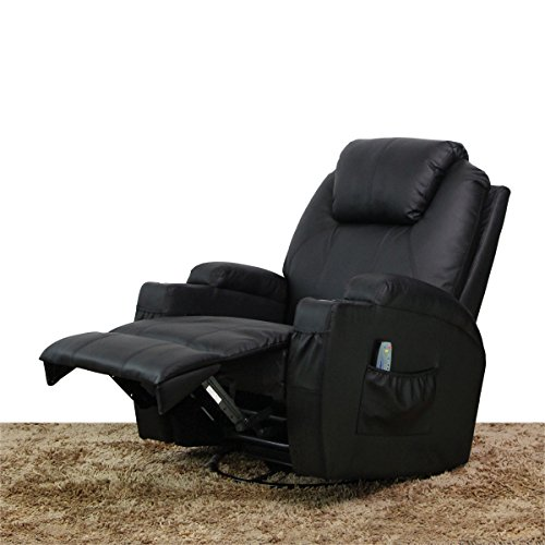 Leather Deluxe Recliner (AECOJOY Deluxe Massage Recliner Chair Heating Vibrating PU Leather Lounge Black)