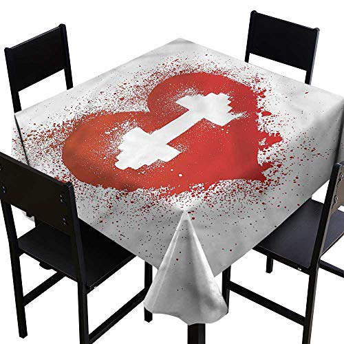home1love Fitness Spillproof Tablecloth Red Heart Dumbbell Art Dinner Picnic Table Cloth Home Decoration 70 x 70 Inch