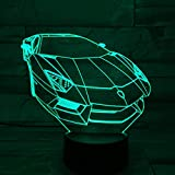 samro 3D car Light 7 Year Old boy Gift 3D Night Light Creative Gift (Green)