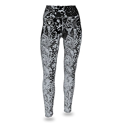 - Zubaz NFL Oakland Raiders Women's Gradient Print Team Logo Leggings, Medium, Black/Silver