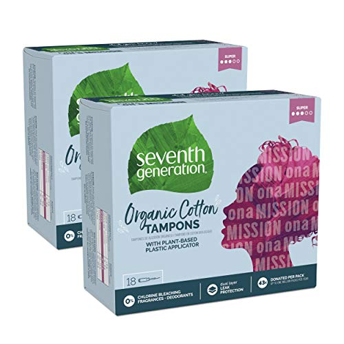 - Seventh Generation Tampons with Comfort Applicator, Organic Cotton, Super Absorbency, 18 count, 2 pack (Packaging May Vary)