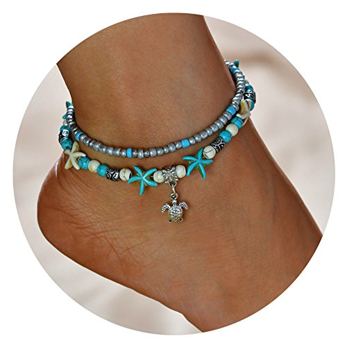 Boho Anklet Blue Starfish Turtle Love Anklets Multiple Layered Heart Beach Rhinestones Turquoise Stone Charm Beads Sea Handmade Anklet Foot Jewelry Gifts for Women Girls (Turtle)