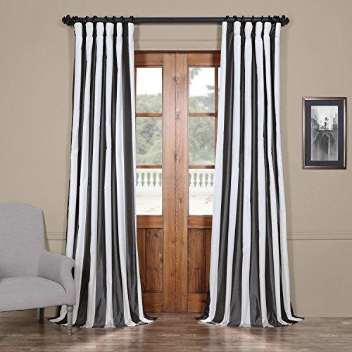 Half Price Drapes PTSCH-11089-120 Faux Silk Taffeta Stripe Curtain, Presidio
