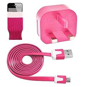 Alta calidad rosa 3pin Reino Unido cargador de pared Adaptador con Micro USB plano anti enredo Cable de datos de carga y sincronización para Gigabyte GSmart Aku alto A1A2T4