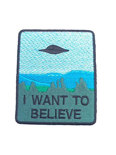 I Want To Believe Patch Embroidered Iron / Sew on Badge The X-Files Movie Poster Costume Souvenir -