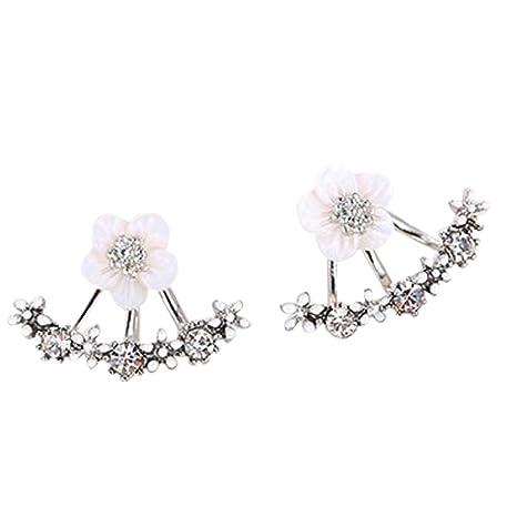387bc77267f2 CAOLATOR Pendientes Plata Color Pendientes Mujer de Flores Cristal  Decoración del Partido Aretes para el Accesorios