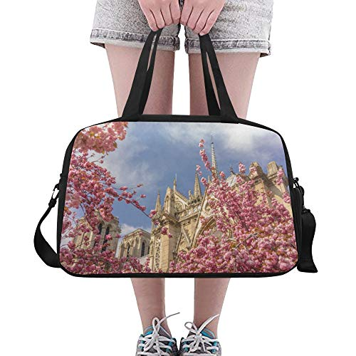 Gym Bags Notre Dame De Paris Spring View Crossbody Travel Duffel Bags Functional Duffel Fitness Duffel For Adult Dancer Sport Camping Climbing Dufflebag With Shoe Pounch - Notre Gym Bag Dame