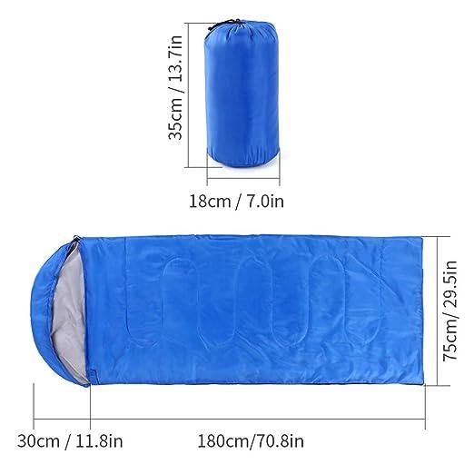 Lixada Saco de Dormir Ultra Ligero Multifuncional (180+30) * 75cm de Forma de Sobre para Acampada Senderismo al Aire Libre (Azul-2 (Sin Capucha)): ...