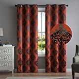 2 Blackout Room Darkening Window Curtains 96″ Length Red Black Damask Grommet Panel Pair Drapes For Sale
