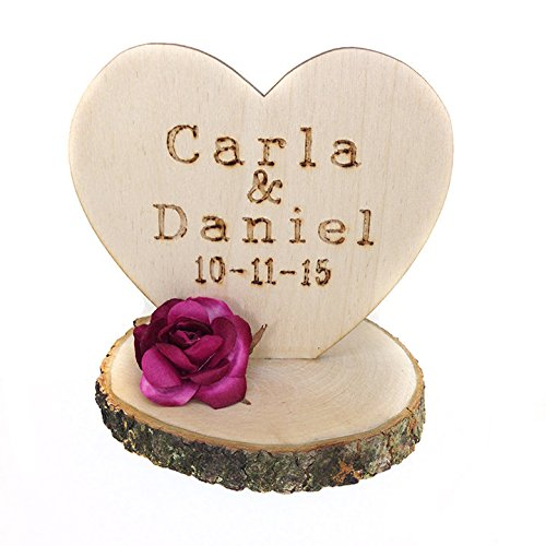 Wedding Collectibles Personalized Rustic Flower Cake Topper