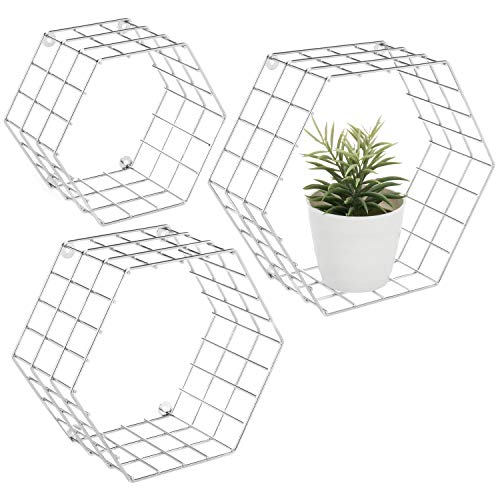 MyGift Hexagonal Silver-Tone Wire Wall-Mounted Shelves, Set of - Silver Accent Tone Metal