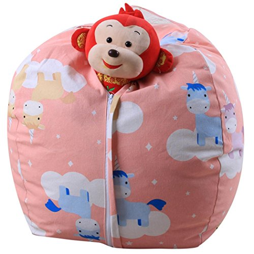 MOKO-PP Clearance Housekeeping Organizer Kids Stuffed Animal Plush Toy Storage Bean Bag Soft Pouch Stripe Fabric Chair BCompressed Organizer Bag (A) by MOKO-PP