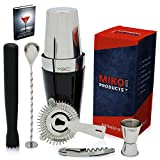 Home Bartender Kit - Cocktail Shaker Bar Set - Includes Bar Tools & Bar Accessories: Boston Cocktail Shaker, Muddler, Strainer, Jigger, Bar Spoon, Corkscrew, Bonus EBook - Vinyl Coating(Black)