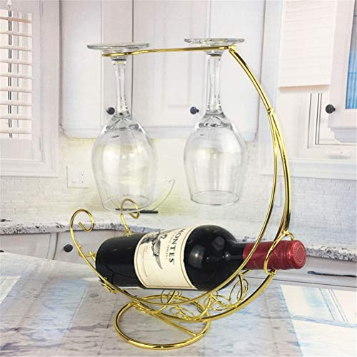 Creative Metal Wine Rack for Hanging Wine Glasses Standing Wine Rack for Bar Wine Cellar Wedding Party Decor New Year Gift,Gold