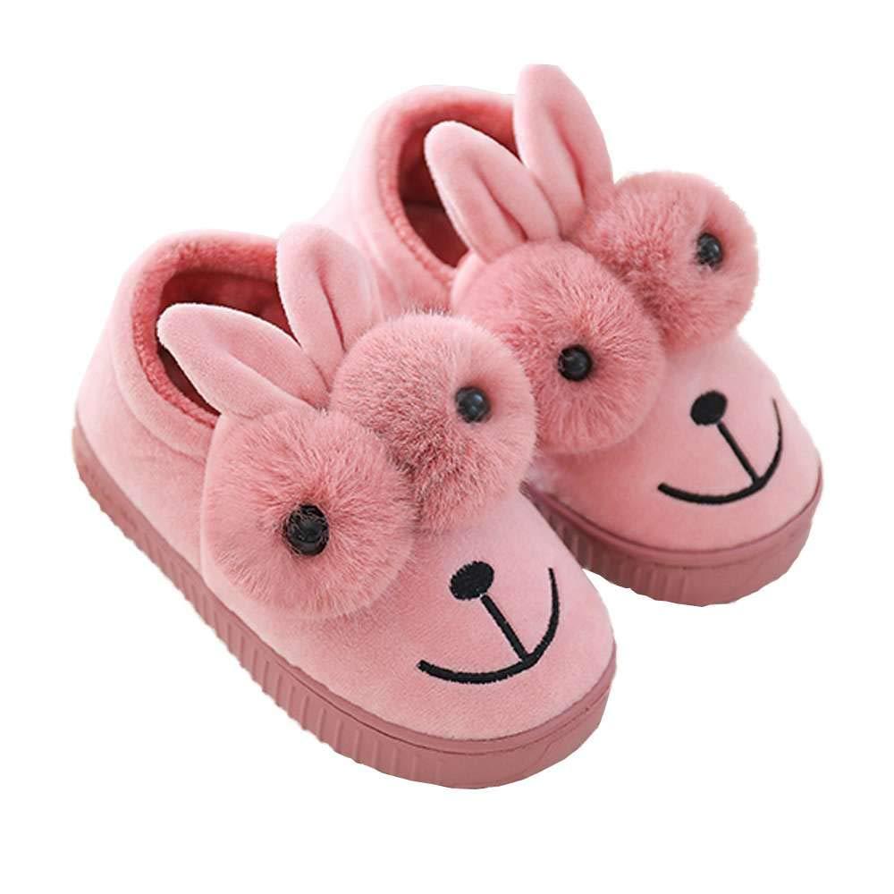 Girls Bootie Slippers Cute Rabbit Winter Warm Kids Indoor Outdoor Fuzzy Shoes