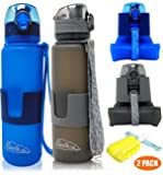 QUILIVIK Collapsible Water Bottle/Travel Water Bottle (2Pack), 22 Oz Silicon Water Bottle/Foldable Water Bottle, Leak Proof/BPA Free for Hiking, Gym,Travel,(Black &Blue)