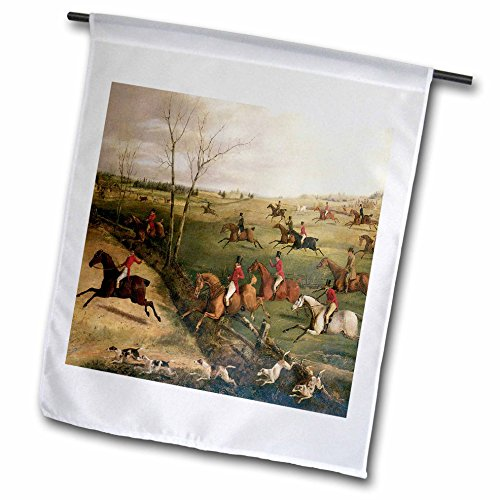 BLN Horses Fine Art Collection - The Oakley Hunt by Henry Thomas Alken - 18 x 27 inch Garden Flag (fl_129780_2) (Alken Horse)