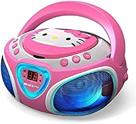 Hello Kitty Portable Stereo CD Boombox with AM/FM Radio, Speaker and LED Light
