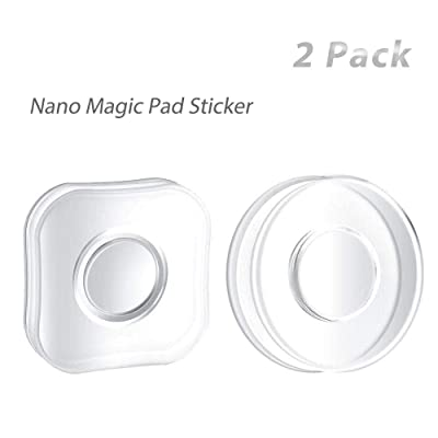 LATT Reusable Nano Magic Sticker Phone Holder Mount, Multi-Functional Traceless Gel Sticky Pad Grip Paste with Cable Organizer for Car Office Home- 2 Pack [5Bkhe2012307]