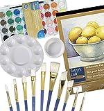 """Watercolor Art Set – Paint Tool Kit - Watercolor Paint Gift Set – (5 Items) – 9""""x12"""" Watercolor Pad, Watercolor Paint (36 colors), 10 piece brush set, Round paint palette, Paint - Water Cup"""