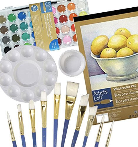 "Watercolor Art Set – Paint Tool Kit - Watercolor Paint Gift Set – (5 Items) – 9""x12"" Watercolor Pad, Watercolor Paint (36 colors), 10 piece brush set, Round paint palette, Paint - Water Cup by Elite Exchange Enterprise"
