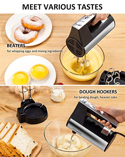 Hand Mixer Electric, [Upgraded] Kitchen Handheld Mixer for Baking Cake Egg Cream Food Beater, Turbo Boost / Self-Control Speed + 5 Speed + Eject Button + 4 Stainless Steel Accessories + Storage Base