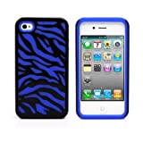 iPhone 4S Case, MagicMobile® Hybrid Armor Ultra Protective Case for iPhone 4 / 4S Cute [Zebra Pattern] Design Hard Plastic + Shockproof Rubber Impact Resistant iPhone 4S Defender Cover - Black / Blue