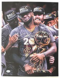 Lebron James Cleveland Cavaliers Cavs Signed Autographed 11 x 14 Championship Trophy Photo