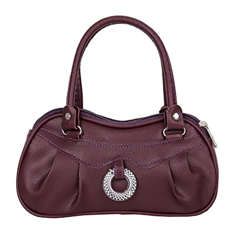 Clearance! Women Shoulder Bag, Neartime 2018 Fashion Pure color Zipper Handbag Soft Leather Satchel Tote Pleated Purse (❤️ 21cm(L)×6cm(W)×12cm(H), Purple)