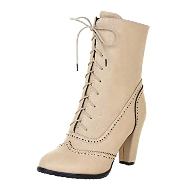 9c136d9a66e00 Sunmoot Women Classic Lace Up Square Heeled Pointed Toe Leather Ankle Boot