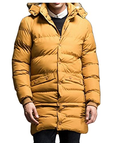 Thicken amp;W Coats Warm Cotton M Jacket Puffer amp;S Parka Yellow Hooded Outwear Men's O8na4S