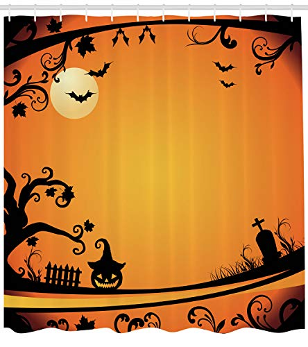 Ambesonne Vintage Halloween Shower Curtain, Halloween Themed Image Eerie Atmosphere Gravestone Evil Pumpkin Moon, Fabric Bathroom Decor Set with Hooks, 84 inches Extra Long, Orange Black ()