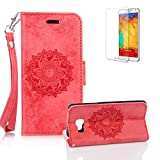 For Samsung Galaxy A3 (2016 Model) Case [with Free Screen Protector], Funyye Classic Premium Folio PU Leather Wallet Magnetic Flip Cover and [Credit Card Holder Slots] Mandala Flower Patterns Design Protective Case Cover for Samsung Galaxy A3 (2016 Model) -Red